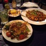 Soft shell crab and jambalaya.  Delicious!