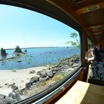 Ocean view from the railroad car