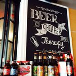 Disply of a few of the craft beers that we offer