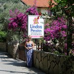 Outside the wonderful Lindos pension