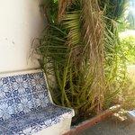 Tiled bench on terrace