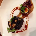 Blue murder stuffed black pudding, port glazed figs, quail egg and onion purée