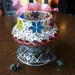 Turkish stained glass mosaic candle holder