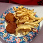 Nice plate of Fish cakes and chips