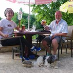 at table with the owners dog ... and his cuddly hedgehog