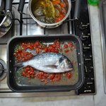 Preparing the 4th course - fish