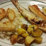 Il piatto del lago: riso e pesce persico del NOSTRO LAGO, agone e filetto di lavarello, patate a