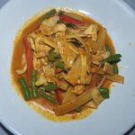 Pad Phed Nor Mai-Sauteed bamboo shoot with red curry paste, coconut cream, string beans, bell pe