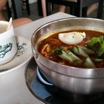 Nonya Laksa & whote coffee at hotel cafe