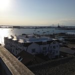 Evening photo of Newport Harbor & Bridge