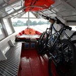 Bikes & us safely in the boat, off we go!
