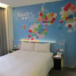 Our room with colourful background!