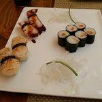 Octopus and scallop nigiri, salmon maki