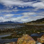 View from the beach of the Beagle Channel, the hotel / spa is a  bit in the distance from this p