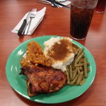 Yummy... bq chicken, green beans, mashed potatoes and gravy and sweet potatoes to start my feast