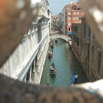 Looking out of the Bridge of Sighs