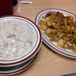 Half order of biscuits and gravy, and a side of Texas potatos!