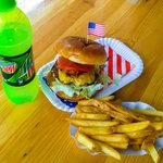 The Oklahoma Burger, Mountain Dew, French Fries