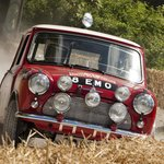 classic Mini-Cooper S in the forest rally