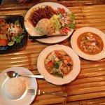 Chicken with Ginger, Orangen Duck, Stir fried noodles, stir fried rice, Chicken paneng curry