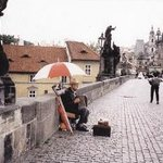 Moment musical sur le Pont Charles à Prague
