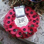 Queen Elizabeth II was here a few weeks ago and left this wreath