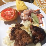 Delicious poisson cru, rice, and barbecued mahi mahi and chicken