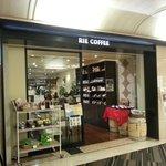 Coffee shop in basement level near subway station