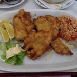 Battered sole fillets with tomato rice, an excellent dish.......as is all the dishes I've tried