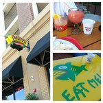 Great outdoor seating and flavored frozen margaritas! Tables have character...
