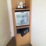 Coffee/Tea and mini fridge in room