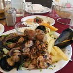 Mixed grill seafood plate