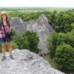 Nellie atop a pyramid at some of the Mayan ruins.