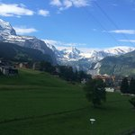 Morning view of the Jungfrau from the bedroom balcony.