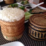 Cute rattan baskets with sticky rice