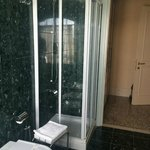 Nice Shower but small.  Roomy bath with toilet and bedet.