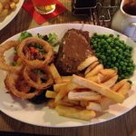 Great rump steak, cooked to perfection. Onion rings were amazing but the peppercorn sauce was st