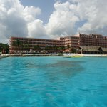 The view of the hotel from the pier