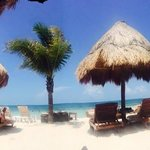 panoramic picture of the beach with Fidel, the best bartender at the Excellence Club Beach