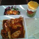 Chicken fajitas with 'shot'