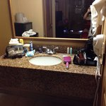 Pretty vanity. Wish there were more toiletries for 3 ppl!