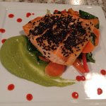 Sesame crusted salmon with miso ginger vegetables and edamame purée with srirachi