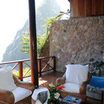 Living area of room J with Petit Piton mountain in background