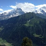 Eiger (left), Moench (in clouds), and Jungfrau (right) from the hotel