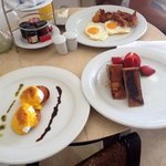 Breakfast room service amazing eggs Benedict and french toast perfect