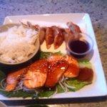 salmon teriyaki was fresh, gyoza was very forgettable