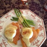 Poached eggs on salmon
