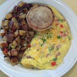 Denver omelet with roasted potatoes and an English muffin