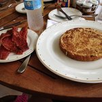 delicious french toast and turkey bacon at Omaggio