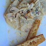Mushroom Ravioli and garlic toast